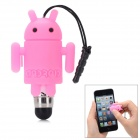 Cute Cartoon Android Robot Shape Capacitive Touch Screen Stylus w/ 3.5mm Anti-Dust Plug - Pink