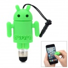 Cute Cartoon Android Robot Shape Capacitive Touch Screen Stylus w/ 3.5mm Anti-Dust Plug - Green
