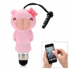 Cute Cartoon Monkey Shape Capacitive Touch Screen Stylus w/ 3.5mm Anti-Dust Plug - Light Pink