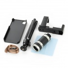 Detectable 8X Telescope w/ TrIpod / Back Case / Bracket for Iphone 4 / 4S - Black + Silver Grey