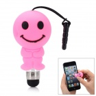 Cute Cartoon Smile Face Shape Capacitive Touch Screen Stylus w/ 3.5mm Anti-Dust Plug - Pink