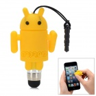 Cute Cartoon Android Robot Shape Capacitive Touch Screen Stylus w/ 3.5mm Anti-Dust Plug - Yellow