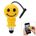 Cute Cartoon Smile Face Shape Capacitive Touch Screen Stylus w/ 3.5mm Anti-Dust Plug - Yellow