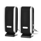 HY-218 Mini USB Power 8W Speakers - Black + Silver (2 PCS)