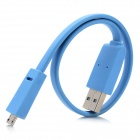 Flat Micro USB Male to USB 2.0 Male Data / Charging Cable - Light Blue (30cm)