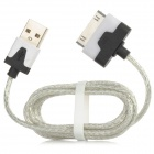 7-Color 30-Pin Male to USB 2.0 Male Data Sync / Charging Cable for iPhone 4 - White + Silver + Black