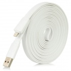 DMT-8 Flat Lightning 8-Pin Male to USB 2.0 Male Data Sync / Charging Cable for iPhone 5 - White (3M)