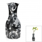 Cartoon Sea Wave Pattern PVC Folding Vase - Black (Size L)