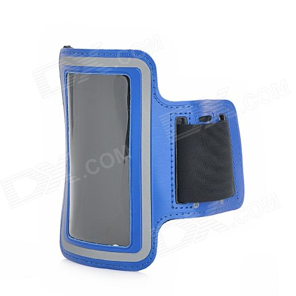 Fashion Sports Outdoor Armband for Iphone 4 / 4S - Blue + Black zippered sports armband bag pouch for iphone 4 dark blue
