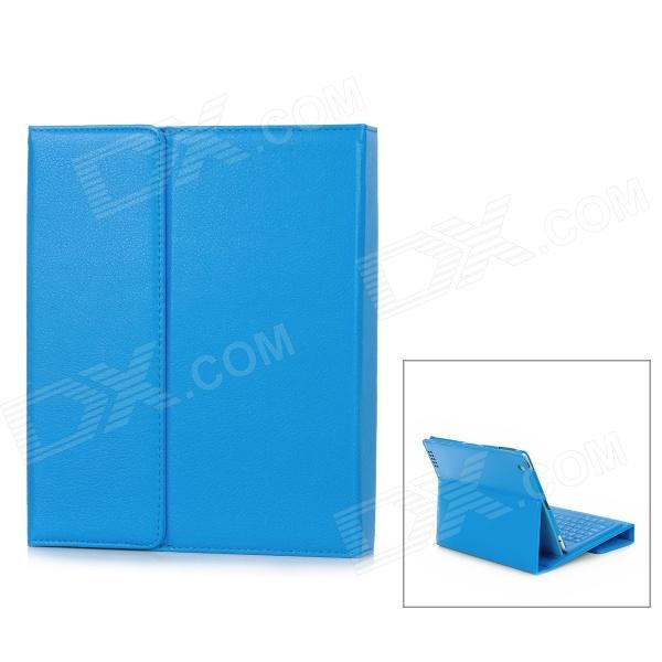 Protective PU Leather Case Stand + Wireless Bluetooth V3.0 76-Key Keyboard for Ipad - Blue