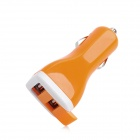 Dual USB Car Cigarette Powered Charger for Ipod + Iphone + Ipad - Orange (12~24V)