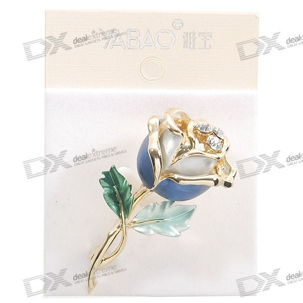 Charming Crystal Gold Rose Brooch