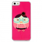 D4-024 Egg Miss Pattern w/ Rhinestones Protective Plastic Back Case for Iphone 5 - Deep Pink
