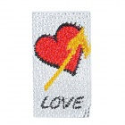 Protective Heart Pattern Acrylic Decoration Sticker for Cellphone - Silver + Red + Yellow + Black