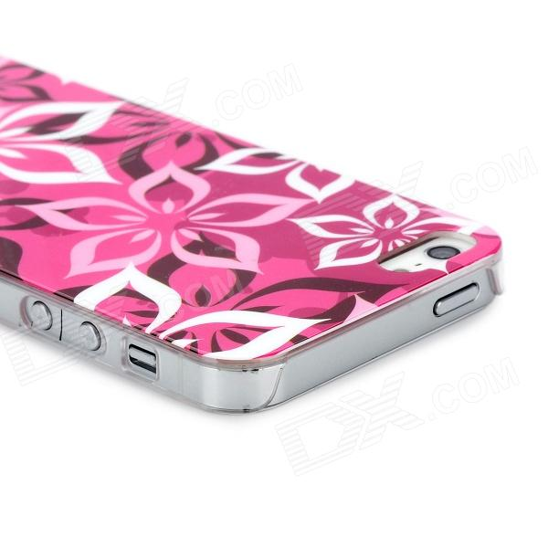 Airwalks Flower Petal Pattern Protective PC Back Case for Iphone 5 - Deep Pink + White + Black virgo pattern protective abs pc hard back case w rhinestone for iphone 5 deep pink white