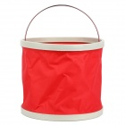 GD776 Foldable Thicken Canvas Bucket for Fishing / Camping / Boating + More - Red + White (9L)