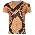 LaoNongZhuang British Style 3D Cobra Snakeskin Pattern T-Shirt for Men (XXL)