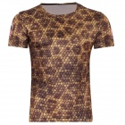 LaoNongZhuang British Style 3D Python Skin Pattern T-Shirt for Men - Brown (XXL)