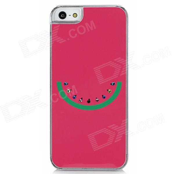 Cute Protective CrystalPlastic Back Case for Iphone 5 - Deep Pink + Green