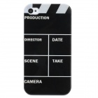 Video Editor Style Protective Plastic Back Case for Iphone 4 - Black + White