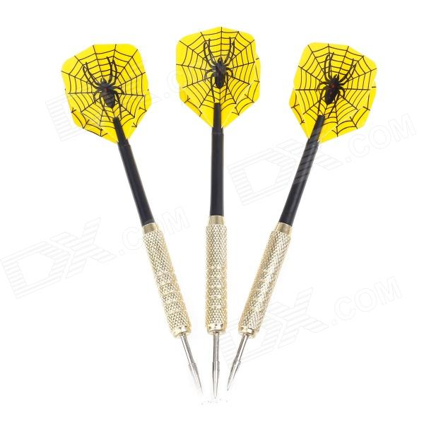 Spider Dartboard Pattern Sharp Knurled Copper-Plated Iron Darts for Dart Game (3 PCS) fairy pattern flight sharp nickel plated iron darts silver purple 3 pcs