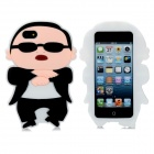 PSY Style Protective Silicone Back Case for iPhone 5 - Black + White + Peachy Beige