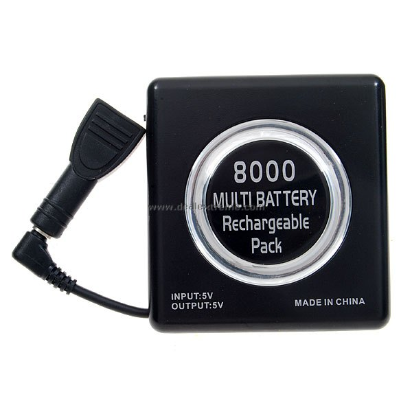 2-in-1 8000mAh External Battery for PSP 1000/2000 (Black)