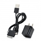 B-198 AC Charger + USB Male to Mini USB / Micro USB / 30 Pin Lightning Charging Data Cable - Black