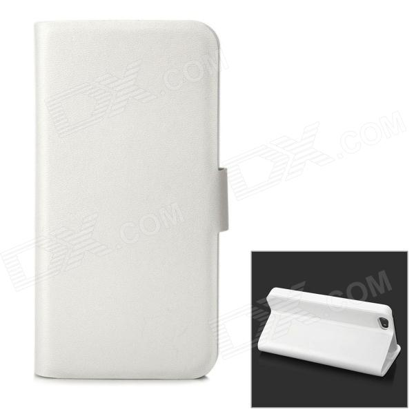 Protective Two Folding PU Leather Back Case w/ Stand for Iphone 5 - White