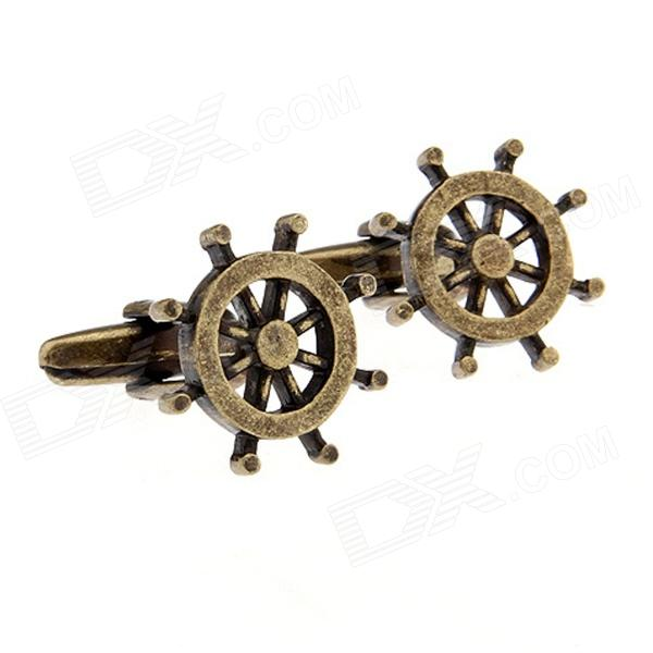 Stylish Brass Rudder Pattern Cufflinks - Bronze (Pair)