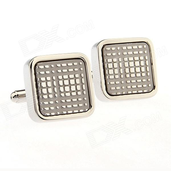 Brass + Nickel Free Plating Digital Plaid Cufflinks - Silver (Pair)