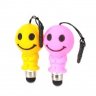 Smiley Face Stil Stylus Pen w / 3.5mm Anti-Dust-Stecker für Handy - Pink + Gelb (2 PCS)