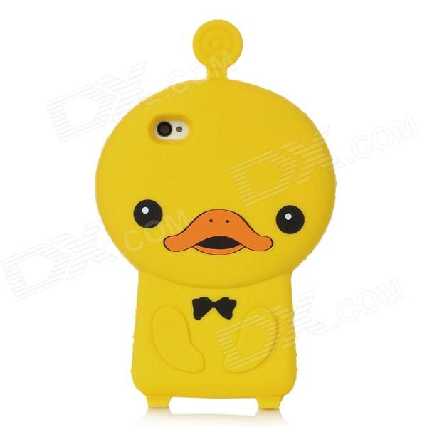 3D Cartoon Duck Style Cute Protective Silicone Case for Iphone 4 / 4S - Yellow cute cartoon turtle style protective silicone back case for iphone 4 4s yellow