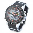 WEIDE WH1104PU-BO Men's Resin Band Quartz Digital Analog Wrist Watch - Black + Silver + Orange