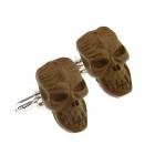 Wooden Skull Heads Style Cufflinks - Brown (Pair)
