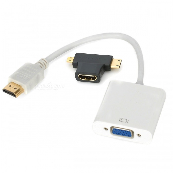 1080P HDMI micro, mini HDMI, HDMI para vídeo VGA Cable adaptador - Blanco