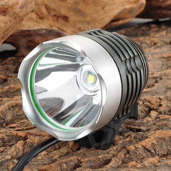 A988 692lm 3-Mode White Bicycle Light / Headlamp w/ Cree XM-L T6 - Silver + Grey (4 x 18650) 600lm 3 mode white bicycle headlamp w cree xm l t6 black silver 4 x 18650