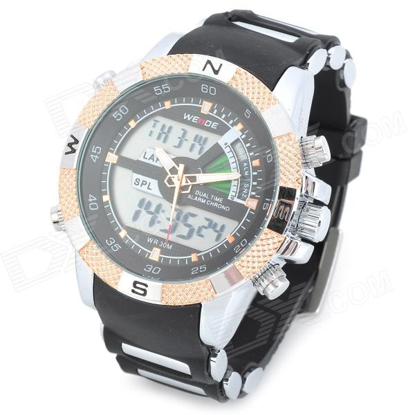 WEIDE WH1104PU-BG Men's Resin Band Quartz Digital Analog Wrist Watch - Black + Silver + Rosy-gold weide casual genuine watch luxury brand quartz sport watches stainless steel analog men larm clock relogio masculino schocker