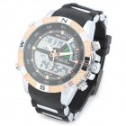 WEIDE WH1104PU-BG Men's Resin Band Quartz Digital Analog Wrist Watch - Black + Silver + Rosy-gold