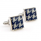Elegant Square Cufflinks for Men - Silver + Blue (Pair)