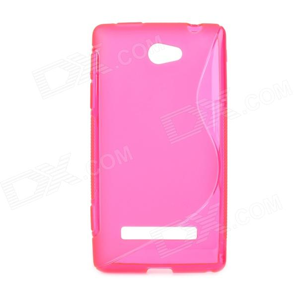S Style Protective TPU Back Case for HTC 8S - Translucent Deep Pink s style protective tpu back case for htc 8s translucent deep pink