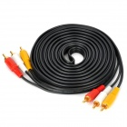 Gold-Plated 3RCA Male to Male AV Cable - Black + Red + Yellow + White (4.5m)