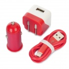 AC/Car Charger + USB to 8-Pin Lightning Data/Charging Cable Set for iPhone 5 / iPod Touch 5 - Red