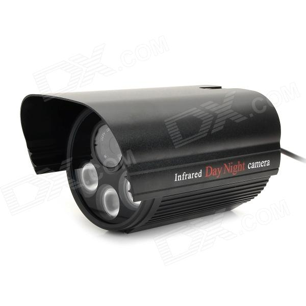 SX-9003B 600TVL CMOS High Definition CCTV Camera w/ 3-LED IR Night Vision - Black
