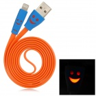 USB to 8-Pin Lightning Data/Charging Flat Cable w/ Smiley Face Indicator Light for iPhone 5 - Orange