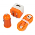 AC/Car Charger + USB to 8-Pin Lightning Data/Charging Cable Set for iPhone 5 / iPod Touch 5 - Orange