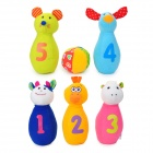 Lovely Animal Shaped Plush Baby Bowling Toy Set - Orange + Yellow + Blue + Pink + Light Blue