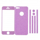 Stylish Decorative Full Front Screen Protector + Back Skin Sticker Set for Iphone 5 - Purple