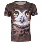 LaoNongzhuang British Style 3D Owl Pattern T-shirt for Men - Ochre (XXL)