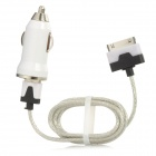 Car Charger + USB Daten / Ladekabel w / LED Light for iPhone 4 / iPhone 4S - Weiss
